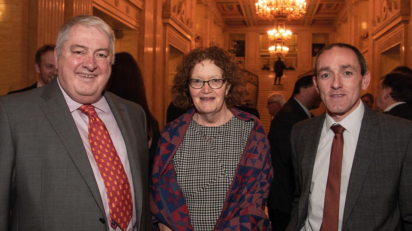 Pictured at the Stormont reception are John Hill, VetNI and the British Bee Veterinary Association along with Perpetua McNamee and Brian Dooher of DAERA.