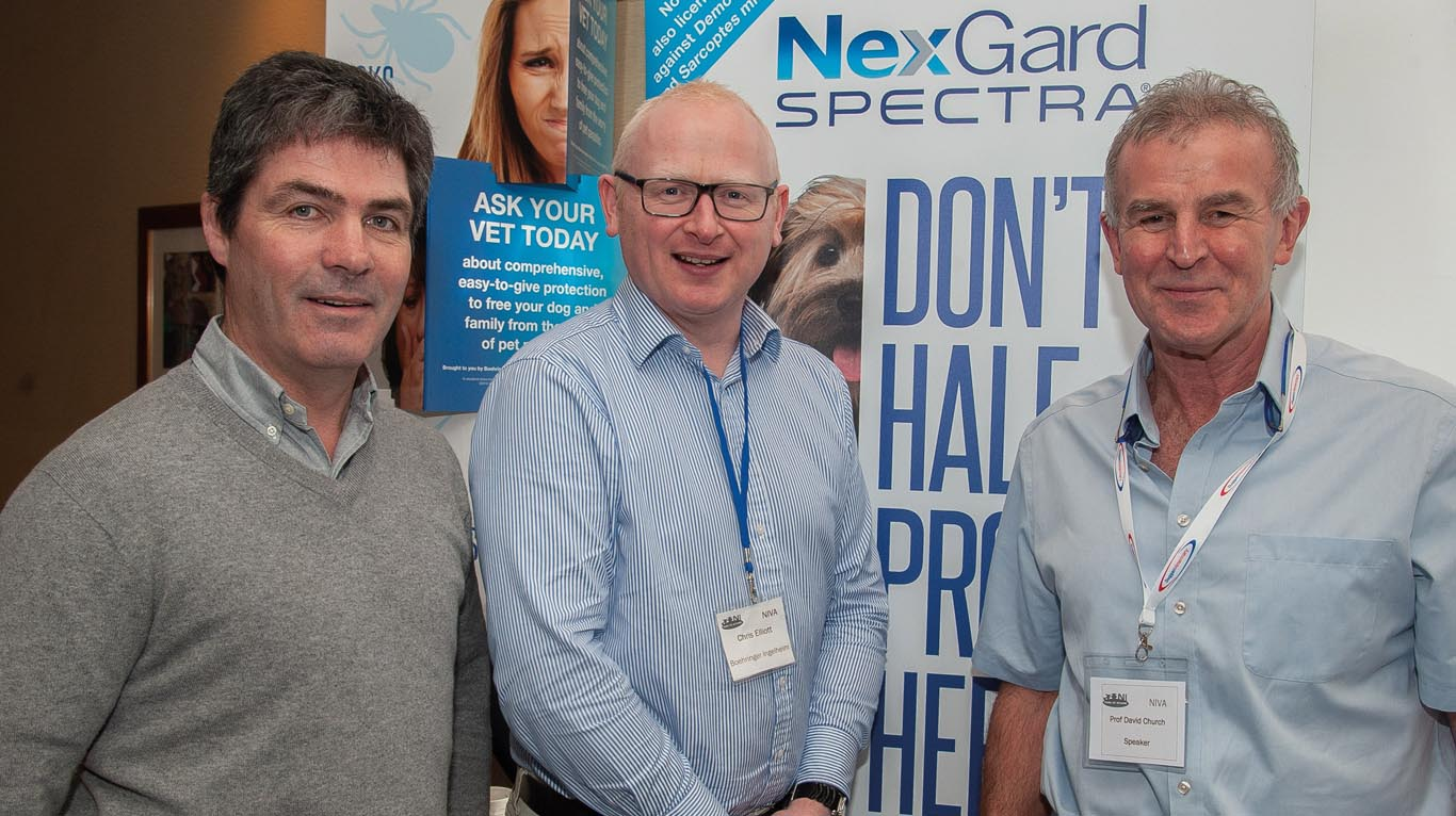 AVSPNI president, Cathal Carr is pictured here with Chris Elliott of Boehringer Ingelheim, and speaker, Professor David Church.
