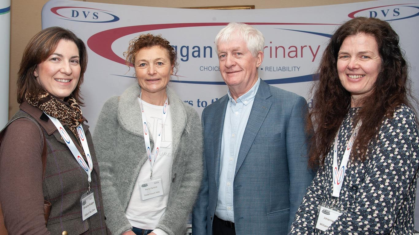 Included are Christine Rodgers of Lisburn Veterinary Clinic; Kerry Parkhill, Cedarmount Vets; speaker Des Rice and Johanna Sloan of William Street Veterinary Clinic, Lurgan.