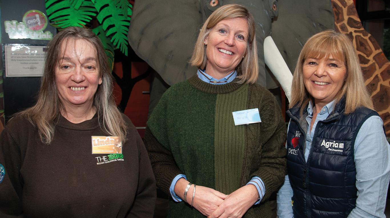 Speakers: Linda Frew, senior zookeeper, Belfast Zoo; Susan Cunningham, Cedar Grove Vets and NIVA president and Karen Green, Agria rehoming manager.