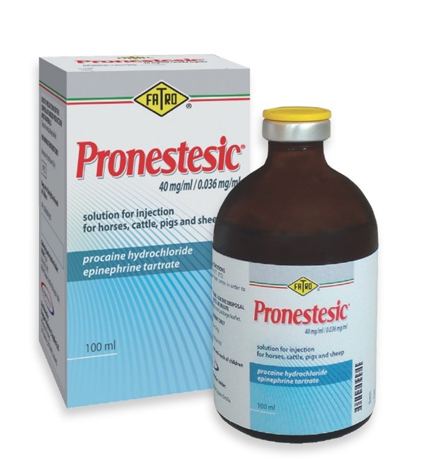 Pronestesic 40mg/ml solution for injection for horses, cattle, pigs and sheep